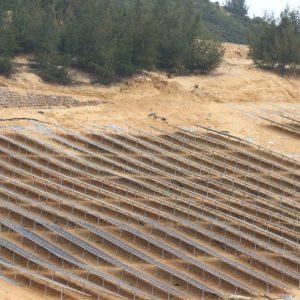 một góc dự án nhà máy điện năng lượng mặt trời Fujiwara Bình Định do Công ty Cổ phần Điện Sài Gòn Gia Định Tổng thầu EPC